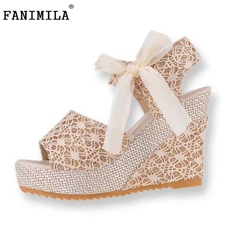 Women's wedges Sandals Peep Toe Lace Shoes Women Ankle Strap Bowtie Leisure Sandals Fashion Platform Woman Footwear Size 35-39
