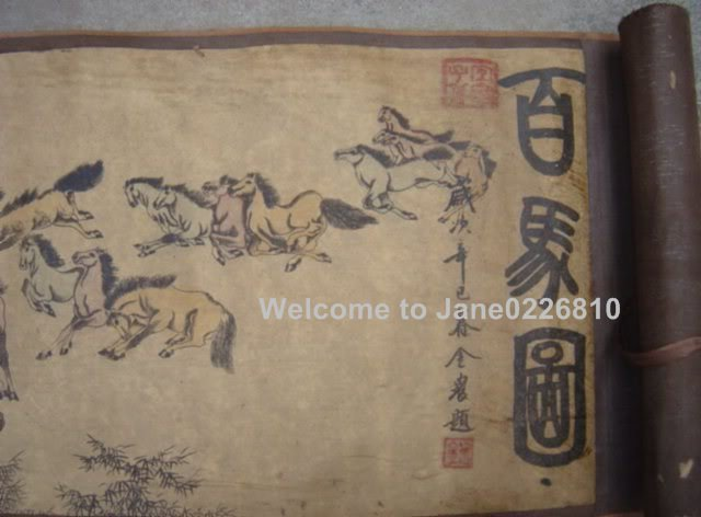 Chinese Qing Dyansty Scroll Painting one hundred horses, 385cm long