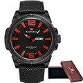 2016 мужская Марка NAVIFORCE Модные Спортивные Часы Мужчины 3D Циферблат Кварцевые Часы Человек Нейлоновый Ремешок Военный Наручные часы