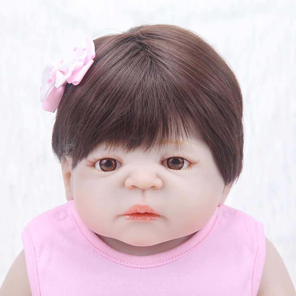 Ребенок Восстановленный ребенок 55 см тело полный силикона Виктории Новая мода Кукла Реалистичная красивая девочка с розовым цветком платье