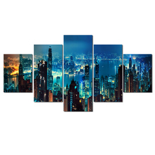 5 Panel Urban Landscape Wall Art Canvas Painting Beautiful Night View Print Picture for Living Room Bedroom Decor