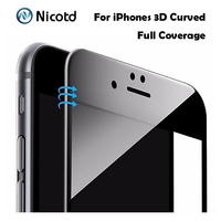 Nicotd 9H 0.3mm 3D Curved Edge Glossy Carbon Fiber Tempered Glass For iPhone 6S 6 Plus Phone Screen Protector Film For iPhone 7