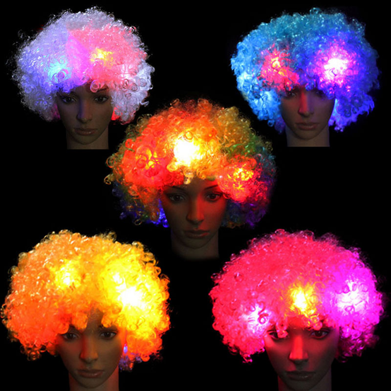 Amazing Explosion of head LED Light up Flashing Curly Hair Wig Fans Hats Headwear Glow Birthday Party Decoration Christmas