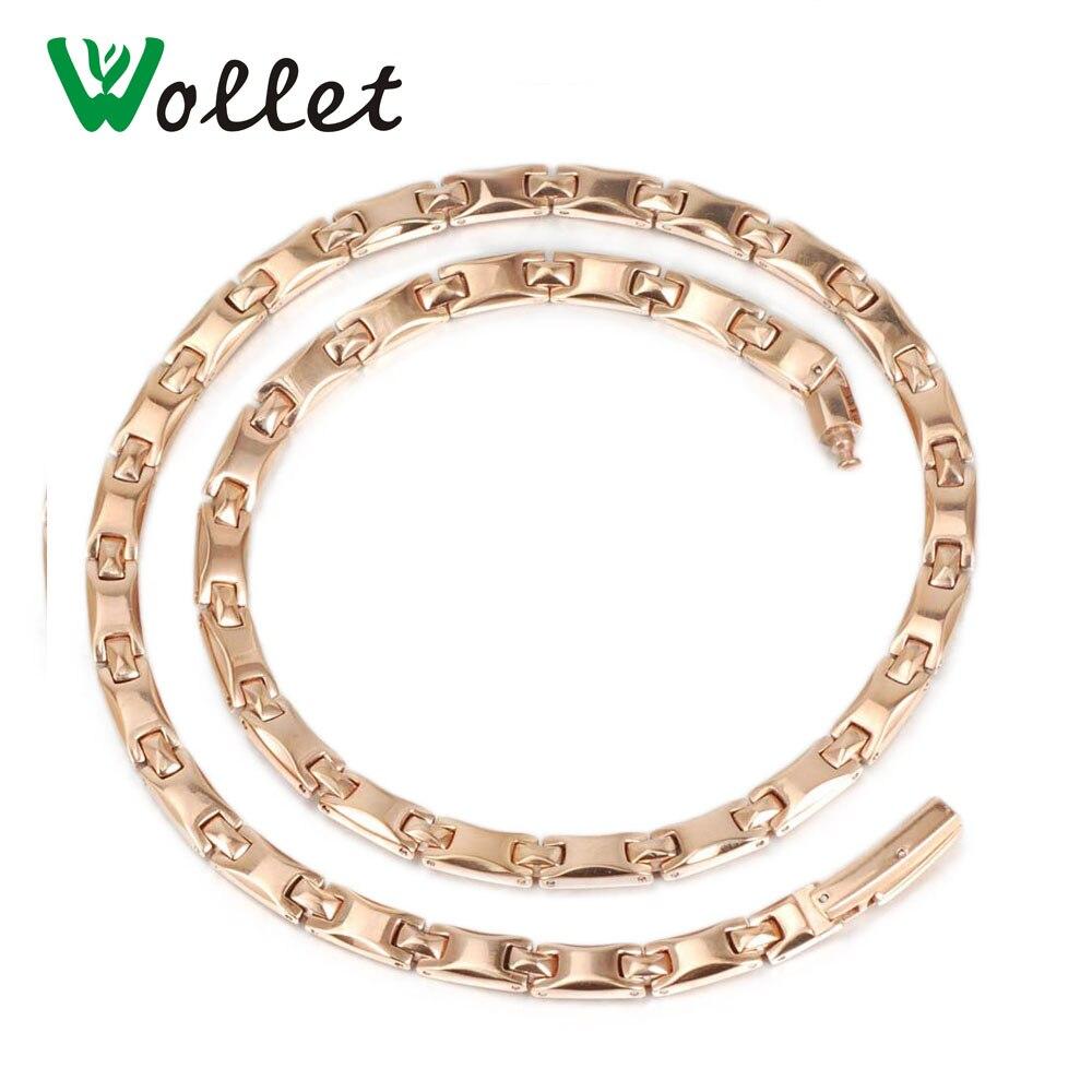Wollet Jewelry Pure Titanium Necklace Women Rose Gold Color Hematite Germanium 2 In 1 Element Pendant Health Energy