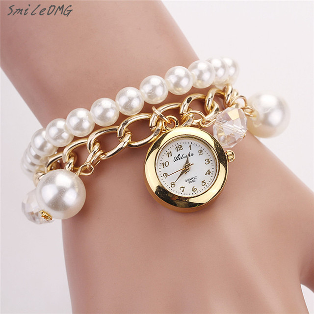 Hot Lady Watch Women Pearl Rhinestone Bracelet Wrist High Quality Free Shipping Dec