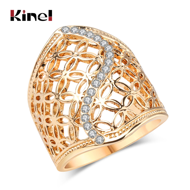 Free Shipping Fashion Hollow Big Ring For Women Gold Color Fine Jewelry Vintage