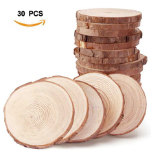 Facemile 30pcs Wood Crafts Natural Round Slices DIY for Birthday Party Table Numbers Wedding Kid Painting Decoration Gift