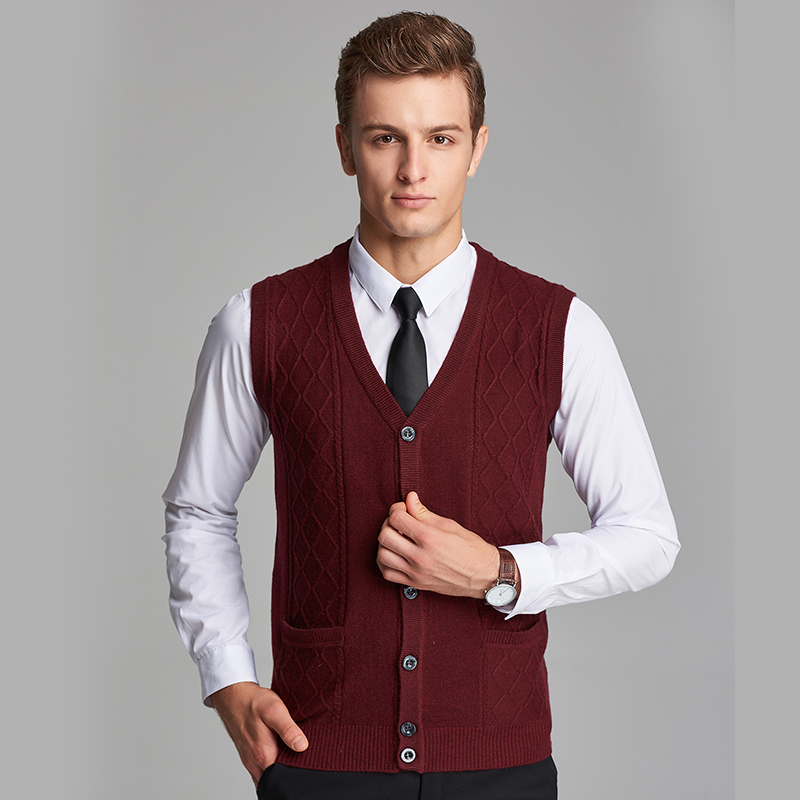 New Arrival 2016 Autumn Mens Knitted Cashmere Sweater Vest Plain Color V Neck Sweater Cardigan
