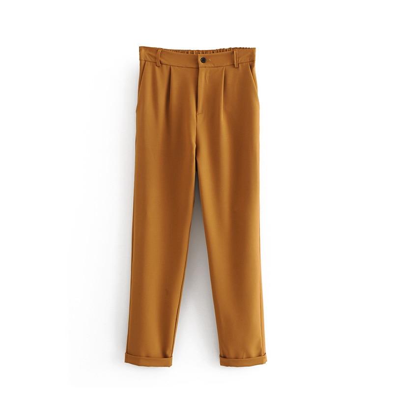 2018 Elegante Mujeres Verde Otoño Pantalones Llegadas Capris Moda Nuevas Lápiz Longitud khaki Drapeado Tobillo 8W8qx5Twr7
