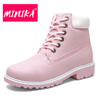 MINIKA Lovely Casual Winter Boots Women High Quality Rubber Leather Ankle Boots Women Waterproof Lace Up
