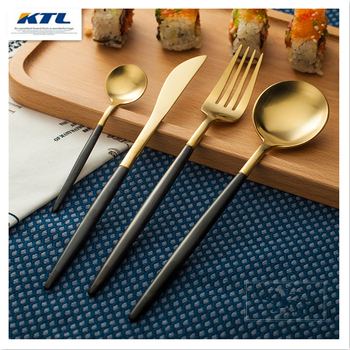 KTL 4 Pcs/lot Black/Golden Dinnerware Set Top Quality Stainless Steel Dinner Knife and Fork Teaspoon Cutlery Set