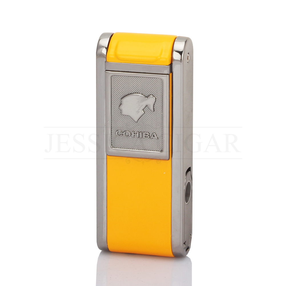 COHIBA Mens Gadgets 2 Frie Flame Jet Torch Cigar Lighter Refillable Windproof Butane Gas Lighters With Cigar Punch Gift Box