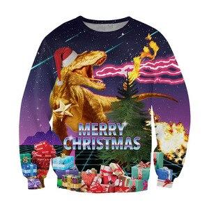 Image 4 - Alisister מכוער חג המולד סווטשירט סנטה קלאוס הדפסת Loose קפוצ ון גברים נשים סוודר חג המולד חידוש סתיו החורף למעלה