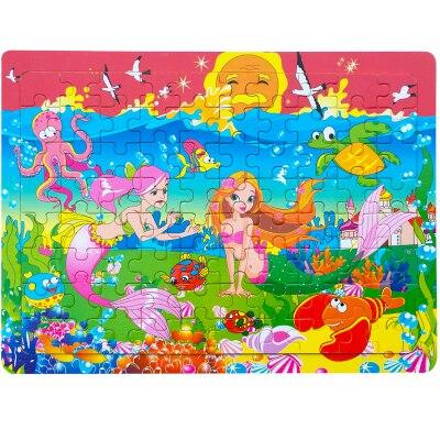 80 de puzzle-uri din lemn pentru animale / puzzle catodic din lemn pentru copii pentru copii, jucării educative, transport gratuit