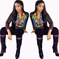Mulheres da Cópia da flor Jaqueta Com Calças Conjuntos de Fatos Moda Casual Mulheres Outono Outfits Mulheres