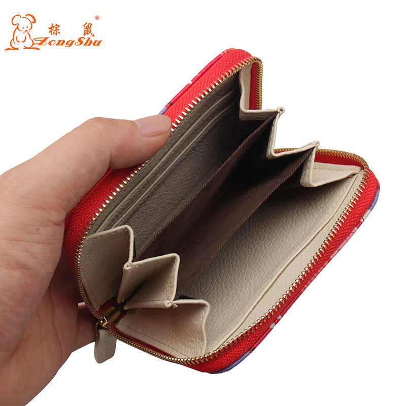 336ea0941e03 ... Cute Cartoon Cat Zipper Wallet Genuine Leather Woman Small Change Wallet  Separated Coins Pouch Wallet Portable ...