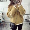 Suéter de las mujeres 2016 de Invierno Nueva Moda de Punto Suéteres Suéteres de Alta Calidad Patchwork Femme Tirón Sweter Mujer SZQ049