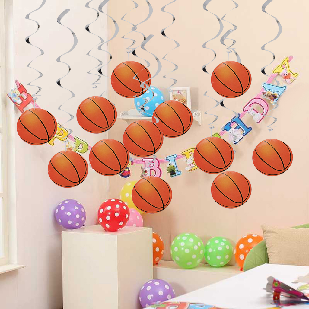 12pcs Basketball Hanging Swirls School Sport Party Celebration Decoration Holiday DIY Party Supplies