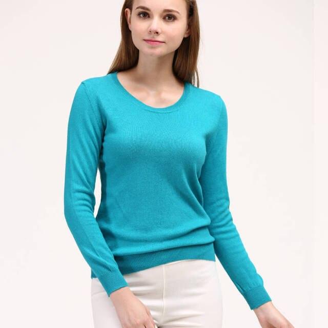 מכירה לוהטת קשמיר לסרוג סוודר לאישה Oneck 15 צבעים ארוך שרוול סוודרים גבירותיי גבוהה באיכות צמר בגדי ילדה חולצות