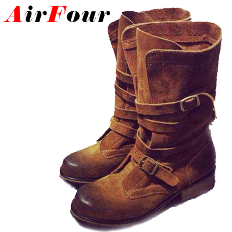 ФОТО Airfour New Mid-Calf Low Heels Short Booties Women Buckle Boots Flats Spring Autumn Shoes Woman Motorcycle Boots