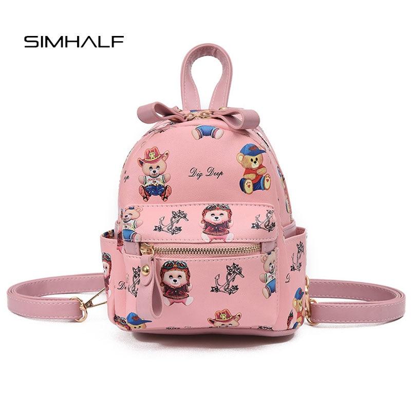 SIMHALF New Western style fashion children backpack Casual Print Shoulder Bags Mochila Bear badge cute cartoon