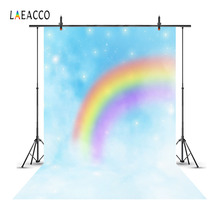Laeacco Dreamy Hazy Rainbow Stars Clouds Scene Baby Photography Backgrounds Vinyl Customizable Backdrops For Photo Studio Props