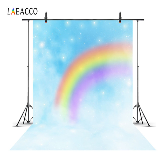 Laeacco Dreamy Rainbow Stars Clouds Baby Children Photography Backgrounds Custom Photographic Backdrops For Home Photo Studio