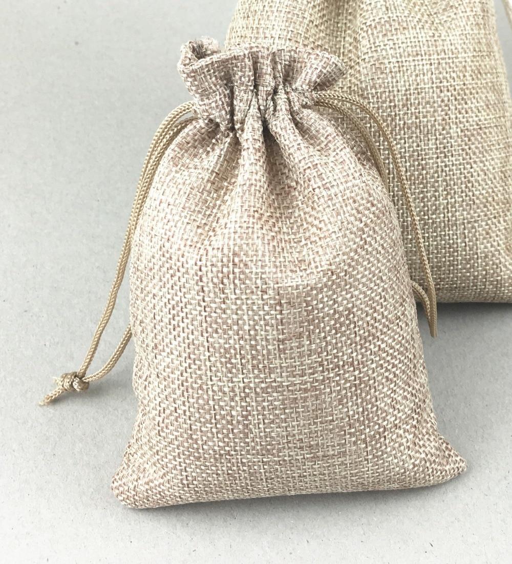50pcs Natural Jute Sack Vintage Style Handmade Jute Sacks Drawstring Gift Bags For Wedding/christmas Packaging Linen Pouch Bags