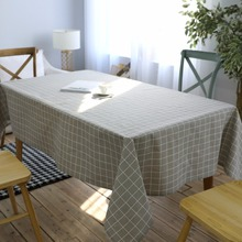 2017 Modern Simple Waterproof Gray Lattice Linen Material Table Cloth  Rectangular Tablecloth Coffee Tablecloth(China