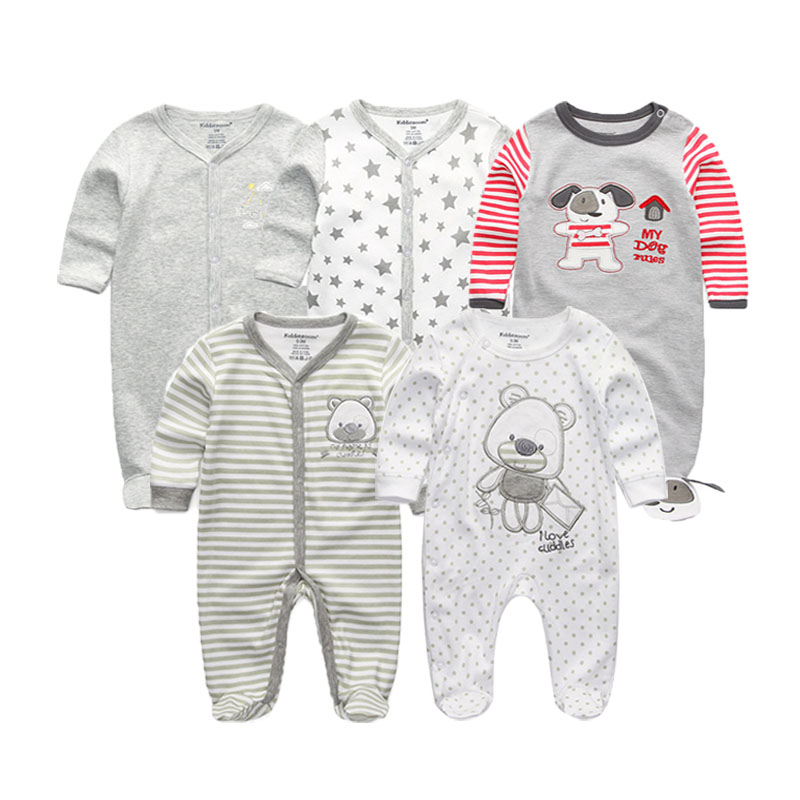 5 PCS/lot newborn baby rompers full Sleeve 100%Cotton baby jumpsuit O-Neck 0-12M baby girl romper roupa bebe cute baby clothes baby rompers o neck 100
