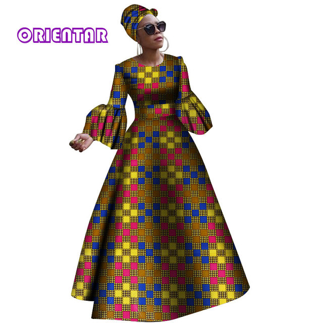 2018 African Dresses For Women Dashiki African Bazin Rich Clothes Dress For Women Africa Women Long Sleeves Party Dress