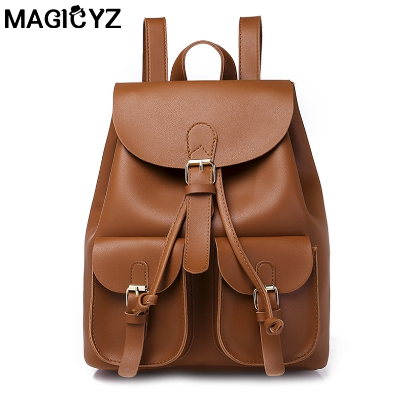 double Pocket Unisex Design Backpack Book Bags for School Backpack leather Rucksack Daypack Back Pack Fashion women Backpacks