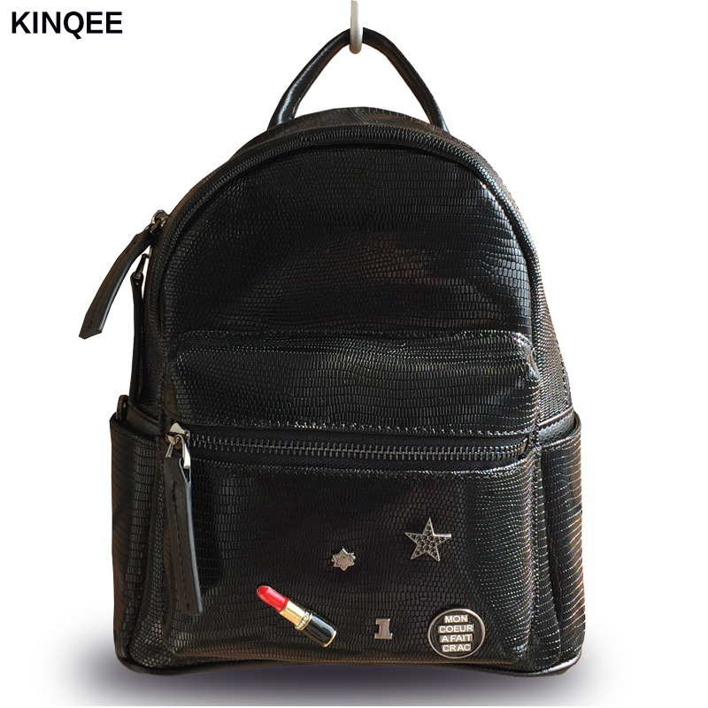 2017 New Kpop Mochilas Lizard Prints Genuine Leather Women Flap Backpack Shoulder Bag Cow Mini High Quality 23*28cm Small Bags jialante 2017 new lizard leather bag is made of simple small shell bag customized for 15 days