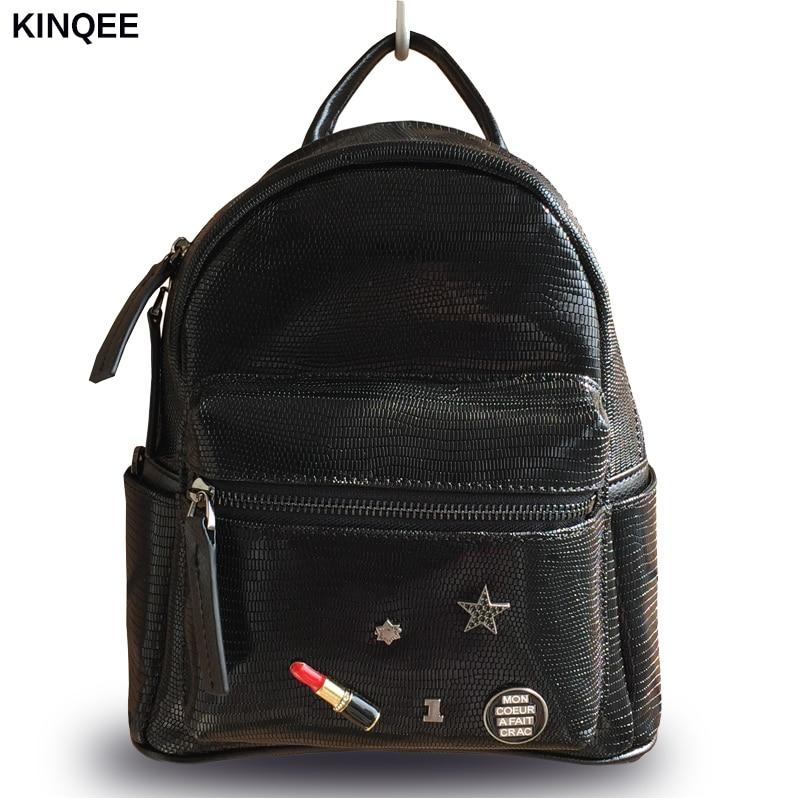 Здесь продается  2017 New Kpop Mochilas Lizard Prints Genuine Leather Women Flap Backpack Shoulder Bag Cow Mini High Quality 23*28cm Small Bags   Камера и Сумки