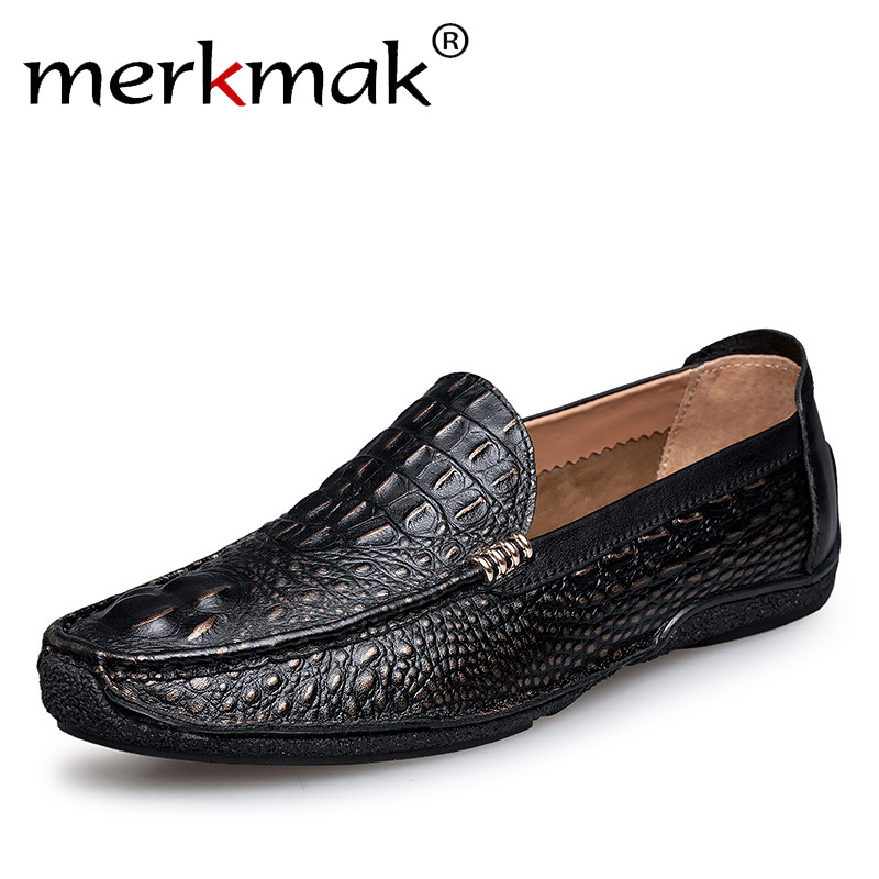 Merkmak Luxury Brand Alligator Fashion Casual Men Shoes Genuine Leather Black Slip-on Men Loafers Dress Flats for Driving Party