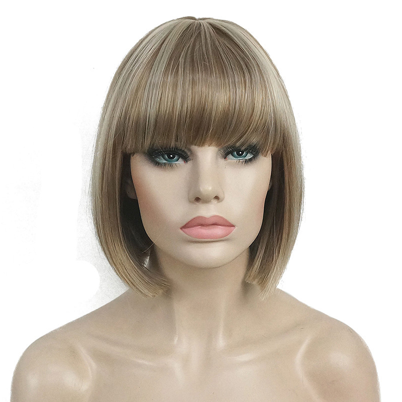 StrongBeauty Short Bob Wig Point Part Bangs Synthetic Wigs COLOUR CHOICES