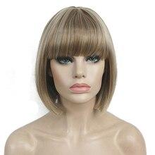 StrongBeauty corto Bob peluca punto parte flequillo pelucas sintéticas opciones de color