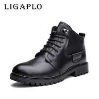New 2015 PU Leather Men Boots Fashion Warm Cotton Brand Ankle Boots Shoes Men For Spring
