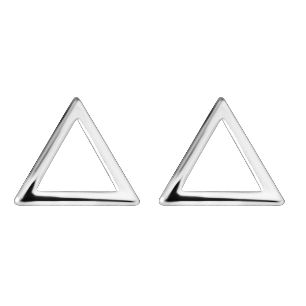 QIMING 2018 Vintage Silver Pure Earrings For Women Fashion Brief Design Triangle Piercing Geometry Stud Earrings Girls Gift