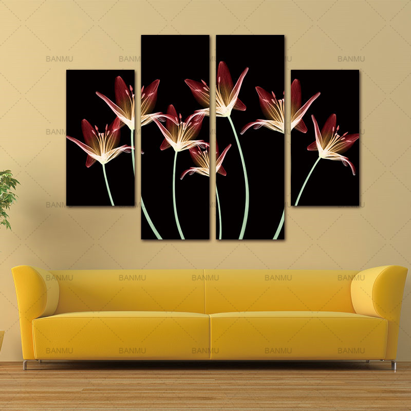 4 Pcs wall painting Flower Canvas Painting Home Decoration Pictures ...