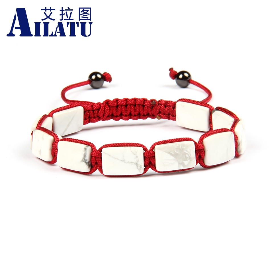 Ailatu Wholesale 10pcs lot Top Quality 8x12mm White Howlite Marble Stone Square Macrame Bracelet Men s