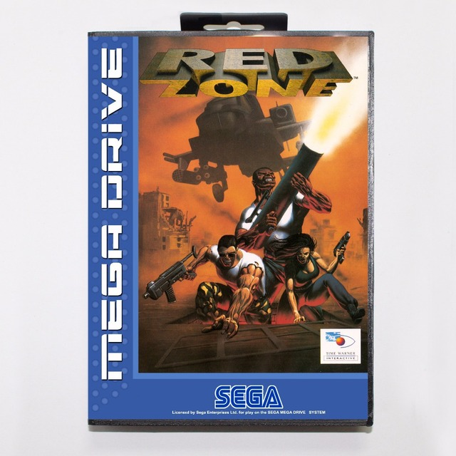 red zone game cartridge 16 bit md game card with retail box for sega