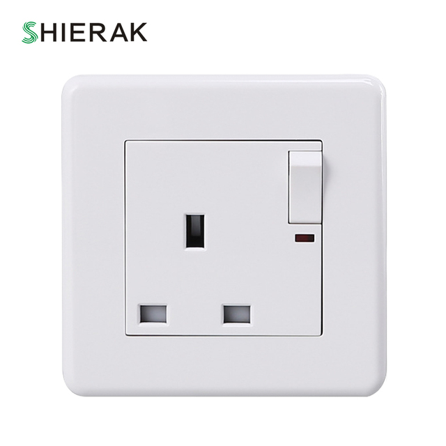 SHIERAK 13A UK Wall Socket With 1 Gang Switch Socket Electrical ...