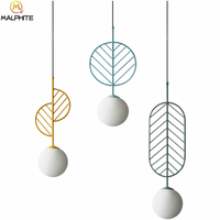 Nordic hanging lighting fixtures simple modern pendant lights Cafe restaurant pendant lamps macarons leaves deco light fixtures