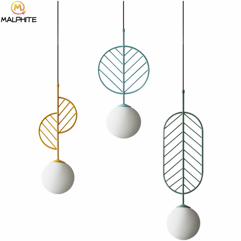 Luminaires suspendus nordiques lampes suspendues simples modernes café restaurant lampes suspendues macarons feuilles luminaires déco
