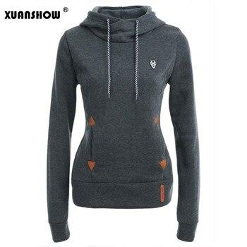 75be516d XUANSHOW осенне-зимние женские толстовки с капюшоном и длинными рукавами модные  женские флисовые пуловеры худи с карманами и вышивкой