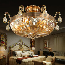 European style all copper led ceiling dome light crystal lamp French round bedroom lamp.