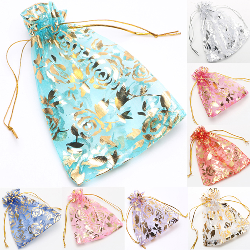 25pcs/set Gold Rose Organza Jewelry Wedding Gift Pouch Bags 7x9cm 3X4 Inch Mix Color for Party Holiday New Year Use недорого