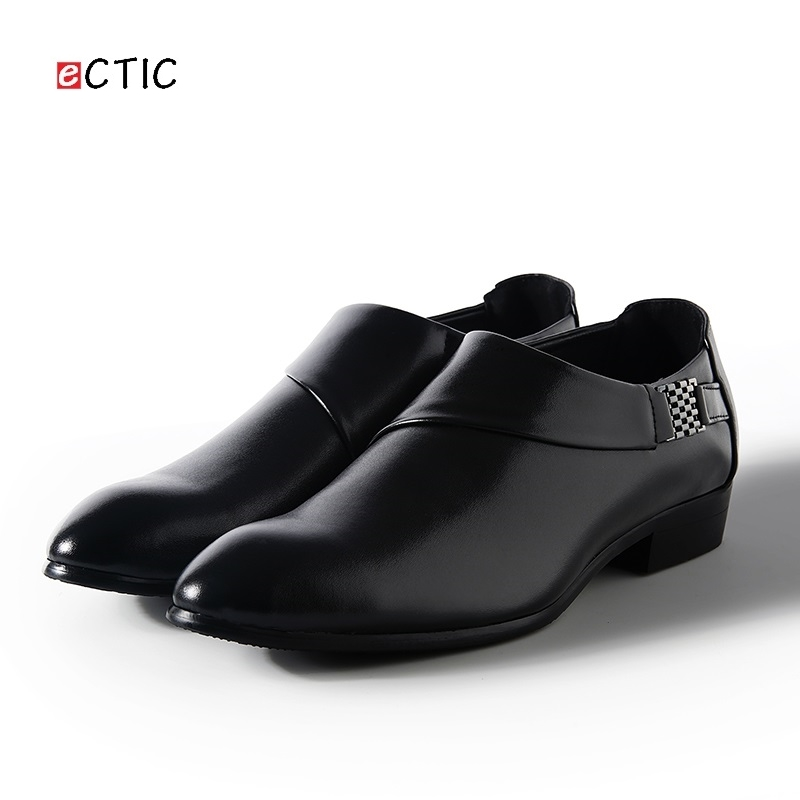 ECTIC 2018 New Design Formal Mens Leather Flat Business Shoes Mens Dress Brogues Oxfords Monk Strap Shoes Zapatos Hombre