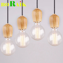 Modren Single Original Wood Pendant Lights Creative Art Retro Edison Lamp Fabrics Cable E27 Wooden Hanging Light Bulb Holder